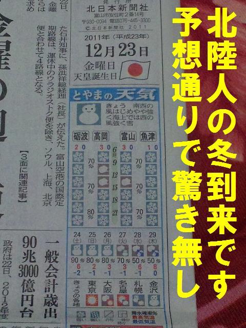 12月23日 天皇誕生日 北日本新聞朝刊