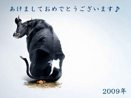 卵を産む牛(年賀状)