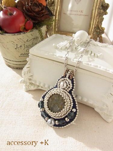 accessory +K ビーズ刺繍 ネックレス シルバー&ネイビー