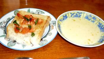 ブルスケッタとコーンスープ