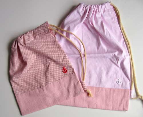 ピンク巾着