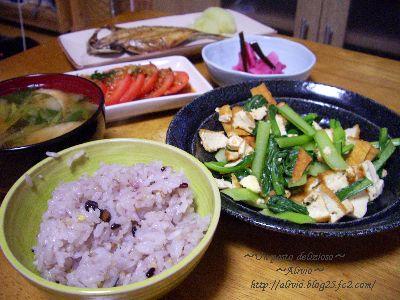 090112小松菜と厚揚げのチャンプルー