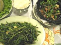 魚のキャラメルソース煮& 空芯菜の炒め物と