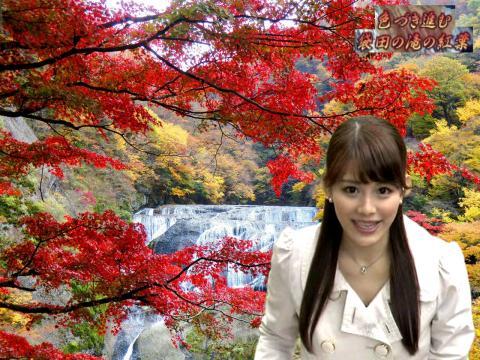 美馬 怜子 袋田の滝の紅葉
