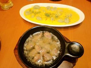 ニョッキ&砂肝のガーリックオイル煮