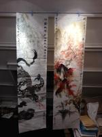201111 水墨画 秋の山水 水牛