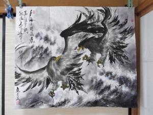 201201 水墨画 鷹 秀作展