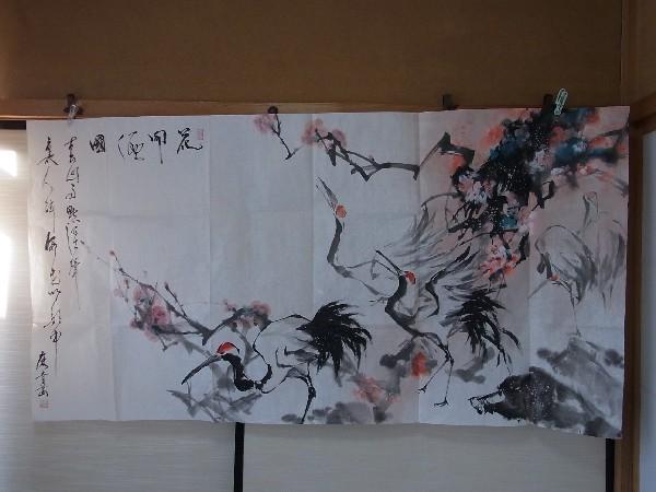 201201 新春展 水墨 鶴梅 表装前