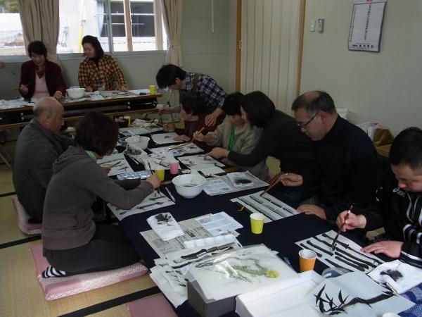 201201_東北ボランティア 水墨画講座01