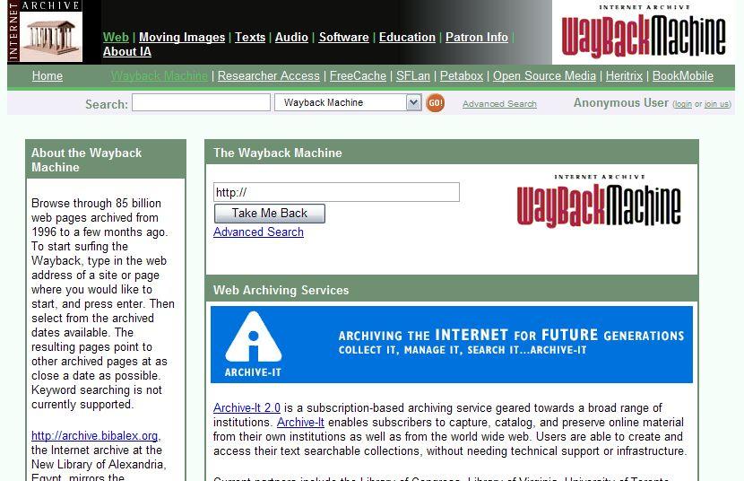 wayback machine org