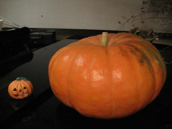 ピアノの上の大きなかぼちゃ