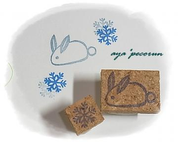 消しゴムはんこ~雪うさぎ&雪の結晶ミニ