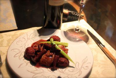 鶏肉のソテー栗の赤ワインソース2