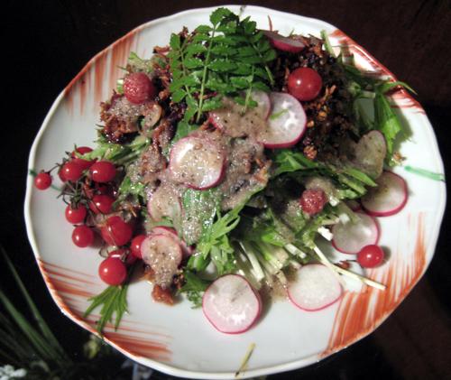 水菜とじゃこのふりかけサラダ