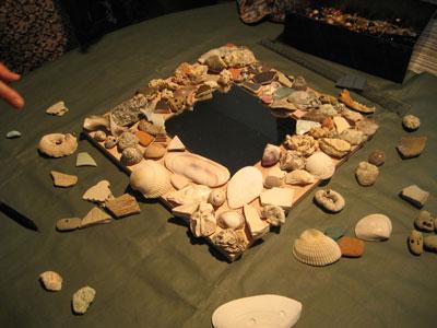 貝殻のミラー額