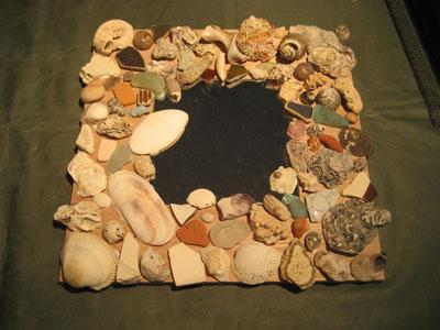 貝殻のミラー額2