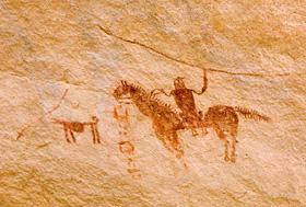 文字と騎馬ヘタウマ壁画