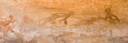 泳ぐ人壁画