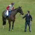 馬がバックドロップ