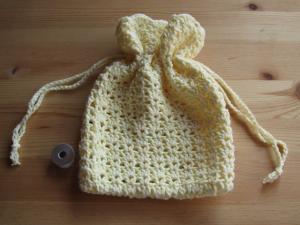 巾着(黄) かぎ針編み