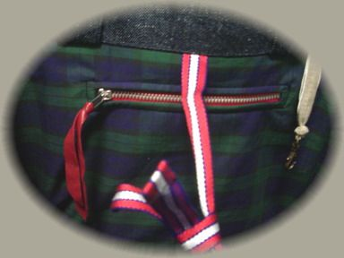 赤みみデニムバッグ内ポケット