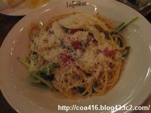 トマトとパルミジャーノのペペロンチーノ