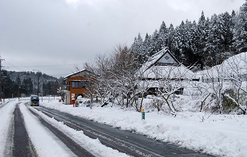 雪の道路が