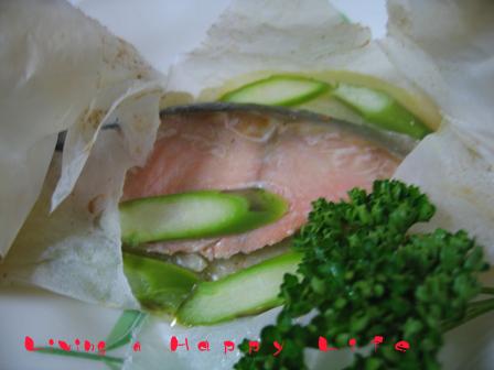 鮭とアスパラの奉書焼き