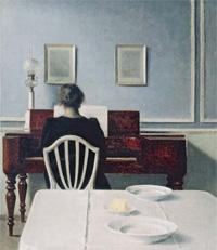 ピアノを弾く女性のいる室内、ストランゲーゼ30番地