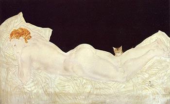 横たわる裸婦の猫