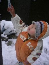 物干し竿と雪