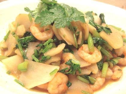 小海老とかぶの香菜炒め