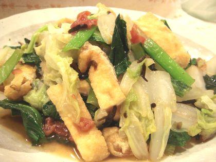 お揚げと野菜の梅昆布蒸し