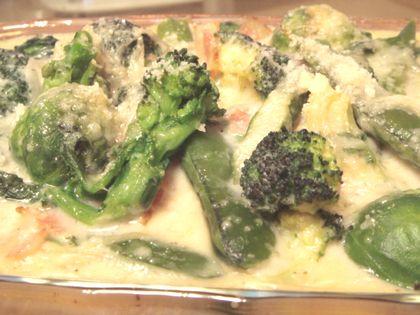 グリーン春野菜の豆乳クリームグラタン