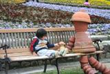 ベンチにちょこん。