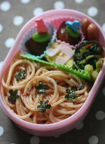 お花海苔のたらこスパ弁当