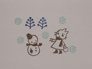 ネコちゃんと雪だるま 50