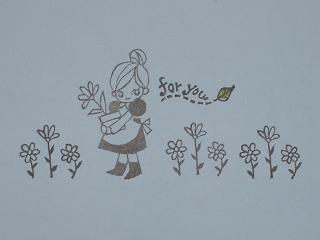 お花畑の女の子 花3つ50