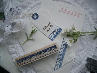 ブルーのレース&水玉hand made 004 ブログ