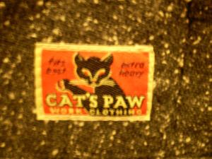 cats paw wool work pants tag