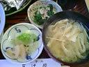 三辻屋・お漬物&ほうれん草和え&油揚げ入りお味噌汁