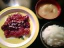 豚肉の生姜焼き麺汁ソテー&ごはん&ジャガイモ入り味噌汁
