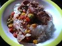 豚肉の細切れミックスベジタブル麺汁炒め丼