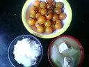 長ネギ豆腐味噌汁&オレンジミニトマト&ごはん