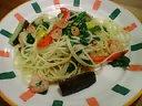 小海老と彩り野菜のペペロンチーノ