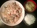 ゴーヤ玉子ニンニク豆腐玉葱炒め&ごはん&お味噌汁