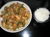 鶏ムネ肉ピーマン玉葱ニンニク卵チンゲンサイ炒め