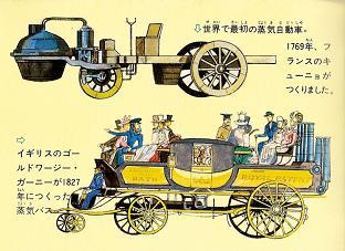 キーニョの蒸気自動車(上)とガーニーの蒸気バス(下)