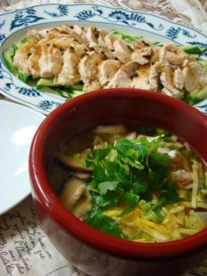 鶏飯(けいはん)と茹で鶏