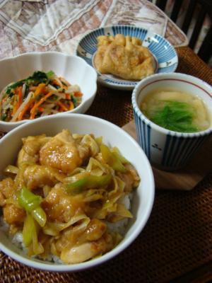 ネギ鶏のカレー風味丼、納豆キムチの油揚げ包み